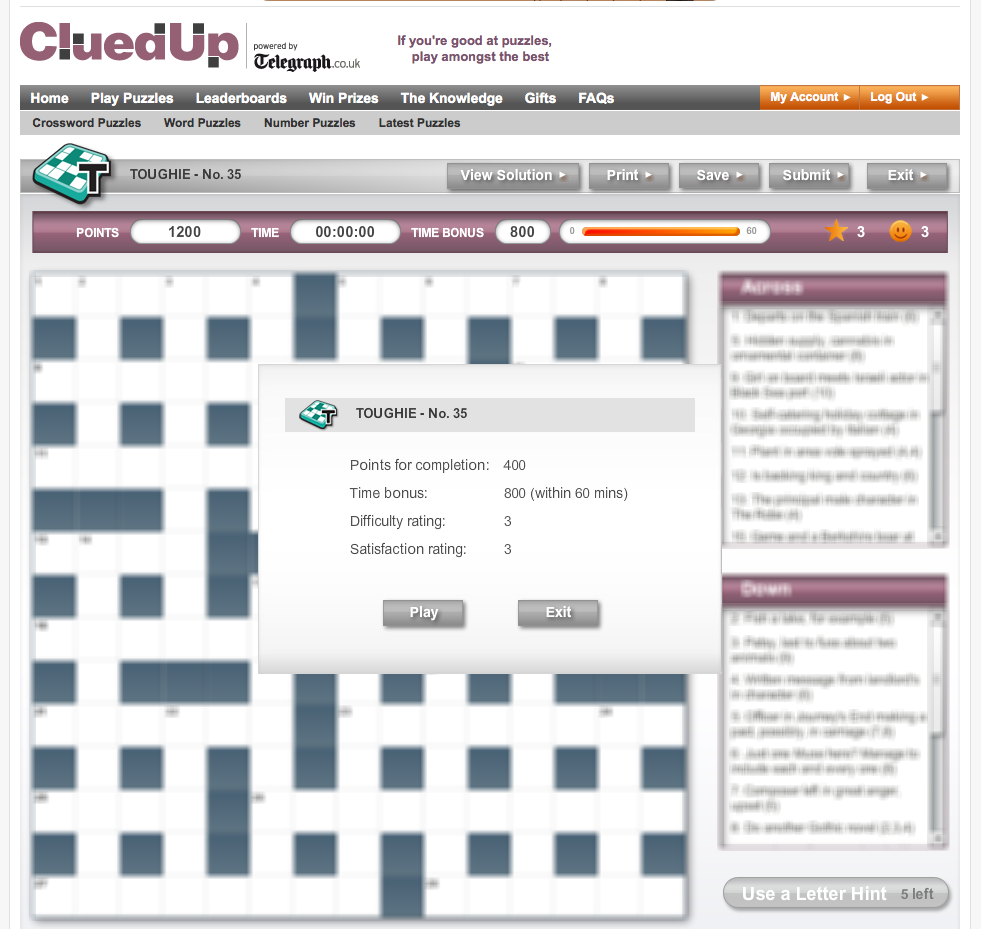 When the user initially selects a crossword the board/clues are blurred until they begin